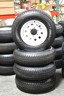 NEW/OLD STOCK RV/MOTORHOME VAIL SPORT WHITE RIMS & TIRE PACKAGE ST225/75D15