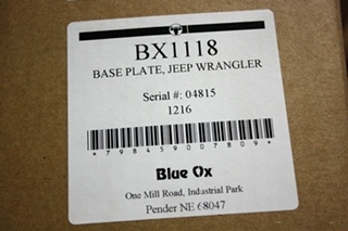 BLUE OX BX1118 BASE PLATE JEEP WRANGLER RV PARTS FOR SALE